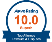 Avvo badge with a 10.0 rating